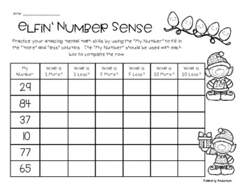 Christmas Number Sense / Mental Math: 1 More, 1 Less, 5 More, 5 Less, 10 More,