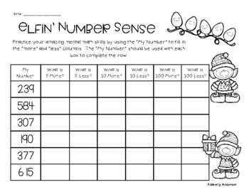 Christmas Number Sense / Mental Math 5 More, 5 Less, 10 More, 10 Less, 100 More