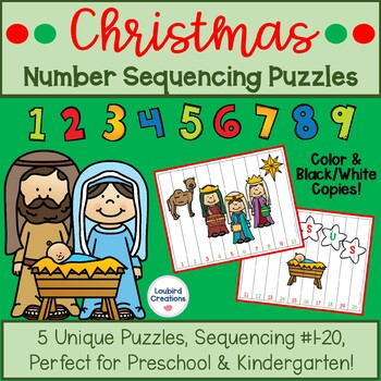 Christmas Number Sequencing Puzzles 1-10