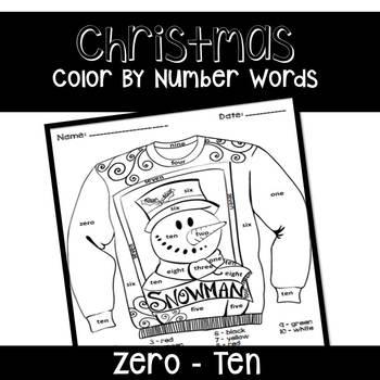 Christmas Number Words FREEBIE