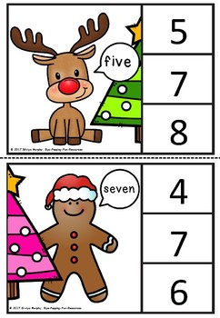 Christmas Number Words Clipcards