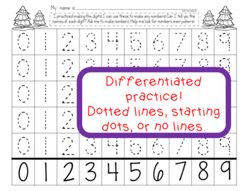 Christmas Number Writing Worksheets