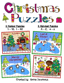 Christmas Number and Alphabet Puzzles