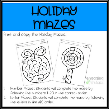 Christmas Number and Letter Maze Printables