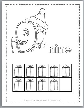 Christmas Math Numbers 1-10 Coloring Book with Ten Frames - Christmas Activity