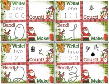 Christmas Number Recognition 0-10 Math Center: Write, Count, Bend, Make!