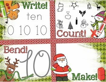 Christmas Number Recognition 0-10 Math Center: Write, Coun