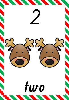 Christmas Numbers 1-10 QLD Beginners Font