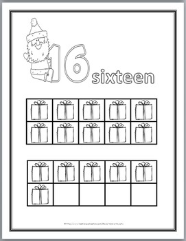 Christmas Math Numbers 11 - 20 Coloring Book with Ten Frames - Teen Numbers