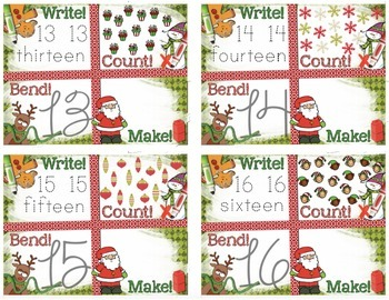 Christmas Number Recognition 11-20 Math Center: Write, Count, Bend, Make!