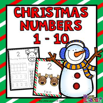 Christmas Worksheets: Numbers 1-10