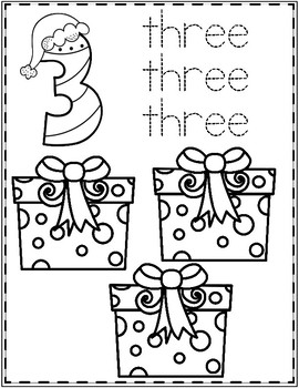 Christmas Numbers Coloring Sheets 1-10  Freebie