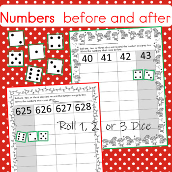 Christmas Numbers That Come Before and After Worksheets