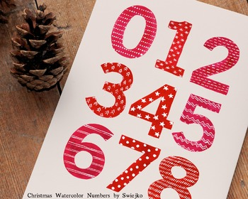 Christmas Numbers, watercolor, 123, counting, Holiday decoration, typography