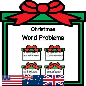 Christmas Word Problems - Addition, Subtraction, Multiplic