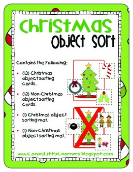 Christmas Object Sort - Printable for PreK to 2nd Grade