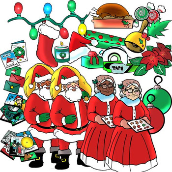 Christmas Objects 70 Pieces (Color and BW Clip-Art)