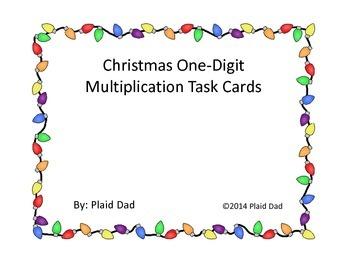 Christmas One-Digit Multiplication Task Cards