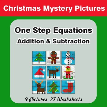 Christmas: One Step Equations - Addition & Subtraction - Math Mystery Pictures