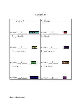 Christmas One-Step Equations Color by Numbers
