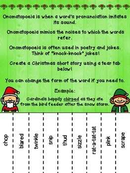 Christmas Onomatopoeia Tear-Tab Creative Writing Activity