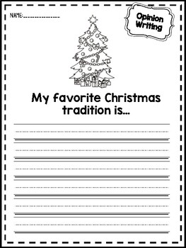 Christmas Opinion Writing Prompts Worksheets Kindergarten 1st 2nd Grade