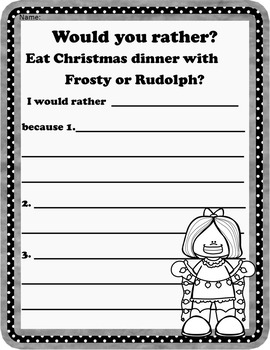 Christmas Opinion Writing: Would You Rather