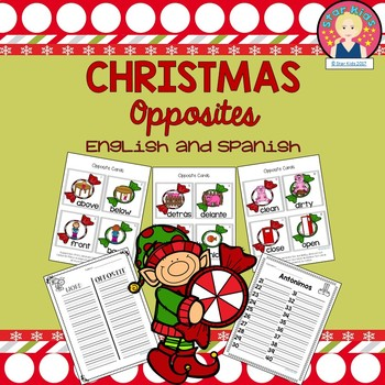 Christmas Opposites in English and Spanish for K-1