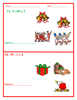 4th Grade Order of Operations for Christmas