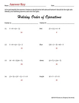 Christmas Order of Operations Cooperative Learning Activity