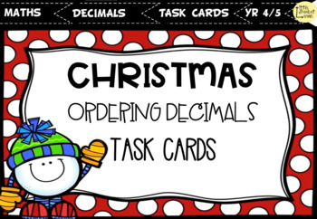 Christmas Ordering Decimals Task Cards