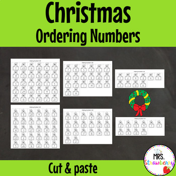 Christmas Ordering Numbers Cut and Paste