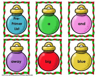 Christmas Ornament 220 Dolch Sight Words 'Bang' Game