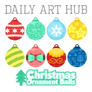Christmas Ornament Balls Clip Art - Great for Art Class Projects!