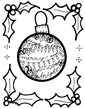 Christmas Ornament Coloring Page With Holly By Miss Jenny Designs