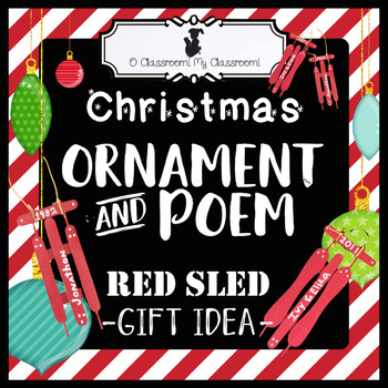 Christmas Ornament Craft and Poem - Red Sled Gift Idea!