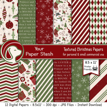 Christmas Ornament Digital Scrapbook Paper / Retro Christmas Digital Paper Pack