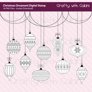 Christmas Ornament Digital Stamp, Christmas Clip Art, Christmas Art & Craft