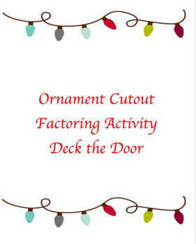 Christmas Ornament Factoring Algebra Cutouts By Math Mermaid Tpt