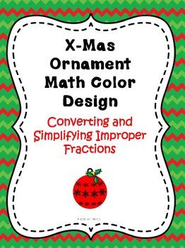 Christmas Ornament Improper Fraction Color Sheet