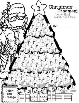 Christmas Ornament Letter Hunt Worksheets