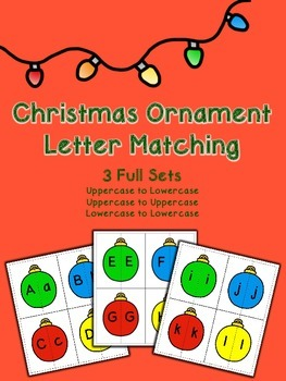 Christmas Ornament Letter Matching - 3 Full Sets