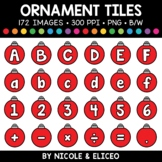 Christmas Ornament Letter and Number Tiles Clipart