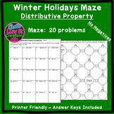Christmas Math Distributive Property No Negatives Maze