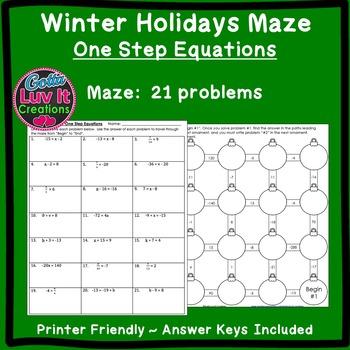 Christmas Activity: One Step Equations (Negatives) Maze
