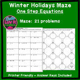 Christmas Math Solving Equations One Step Equations (Negat