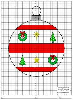 Christmas Ornament, Coordinate Drawing & Graphing, Mystery Picture