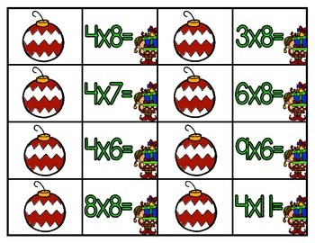 Christmas Ornament Multiplication {A Math Concentration Game}
