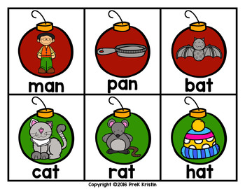 Christmas Ornament Rhyming Match Game