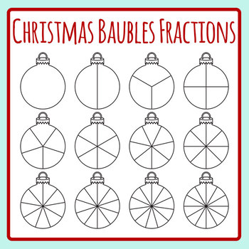 Christmas Ornament Spinner or Fractions Template Clip Art Set for Commercial Use